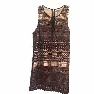 Chelsea28 Lace Stem Burgundy Crochet Dress Sz L